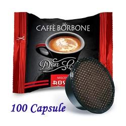 100 pz. CAPSULE CAFFE' BORBONE MISCELA ROSSA - Compatibile A MODO MIO