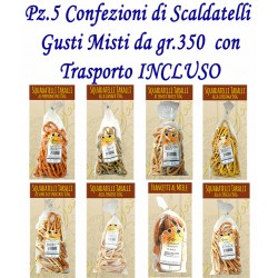 Pz.5 Confezioni di SCALDATELLI gusti misti CASERECCI - gr. 350 cad.