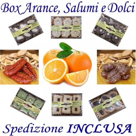 Box kg.9 di Arance + Salsiccia e Soppressata Piccante + Pz.5 DOLCI Misti con Trasporto INCLUSO