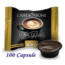 100 pz. CAPSULE CAFFE' BORBONE MISCELA ORO - Compatibile A MODO MIO
