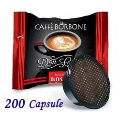 200 pz. CAPSULE CAFFE' BORBONE MISCELA ROSSA - Compatibile A MODO MIO
